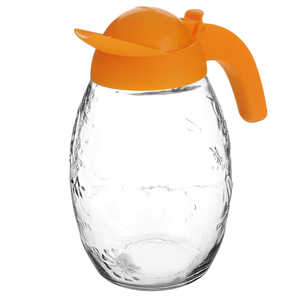 Кувшин Herevin, цвет: оранжевый, 1,6 л. 111351-000111351-000_оранжевыйКувшин Herevin, выполненный из высококачественного прочного стекла, элегантно украсит ваш стол. Кувшин оснащен удобной ручкой и откидной пластиковой крышкой. Кувшин прост в использовании, достаточно просто наклонить его и налить ваш любимый напиток. Форма крышки обеспечивает наливание жидкости без расплескивания. Изделие прекрасно подойдет для подачи воды, сока, компота и других напитков. Кувшин Herevin дополнит интерьер вашей кухни и станет замечательным подарком к любому празднику.Диаметр (по верхнему краю): 6 см.Высота кувшина (без учета крышки): 18 см.