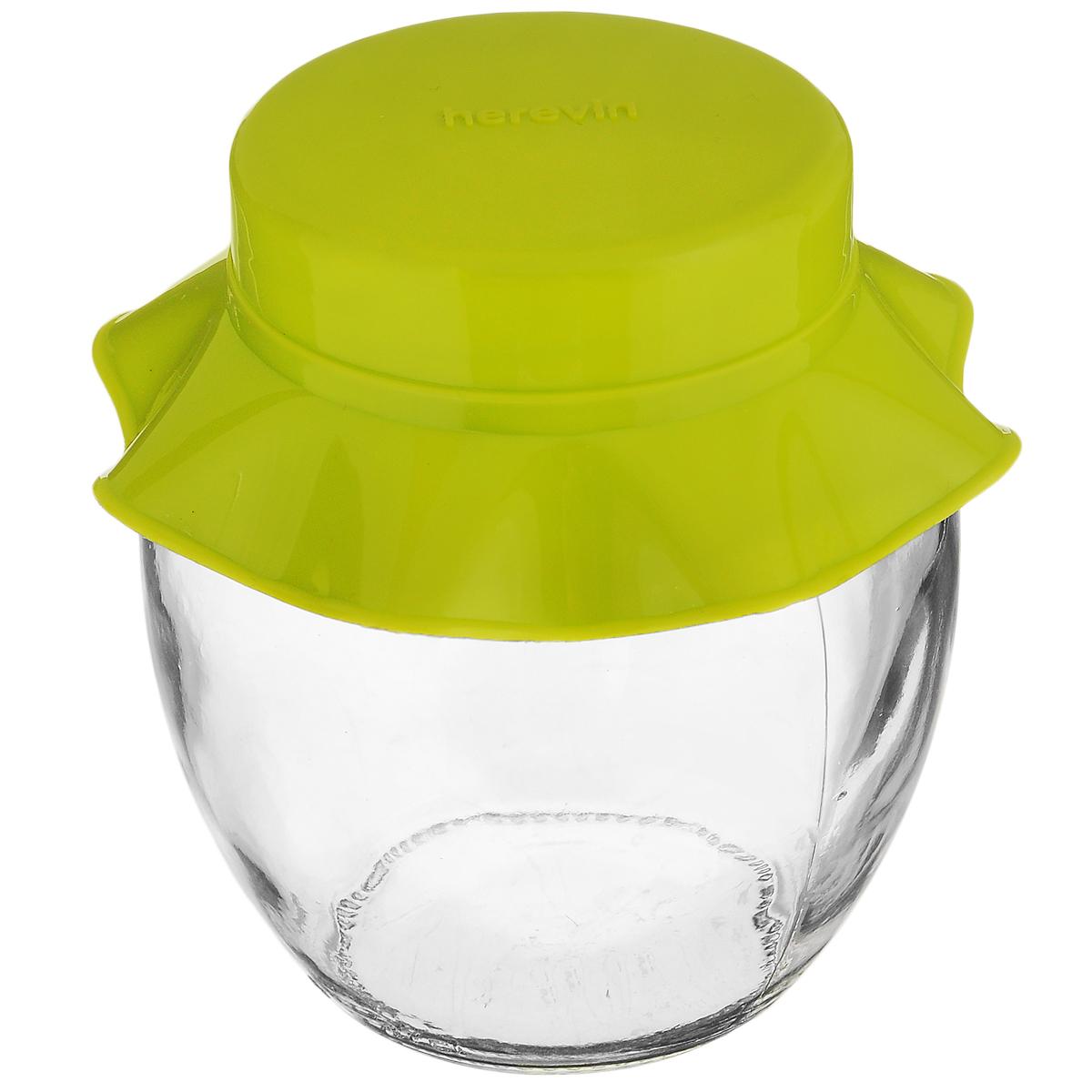 Банка для хранения Herevin, цвет: зеленый, 370 мл131301-000_зеленыйБанка для хранения Herevin выполнена из прозрачного стекла иоснащена пластиковой цветной крышкой.Крышка легко откручивается, благодаря чему засыпать приправу или налить варенье внутрь оченьпросто.Такая баночка станет достойным дополнением к вашему кухонному инвентарю. Можно мыть в посудомоечной машине.Объем: 370 мл. Диаметр (по верхнему краю): 5,5 см. Высота банки (без учета крышки): 10 см.