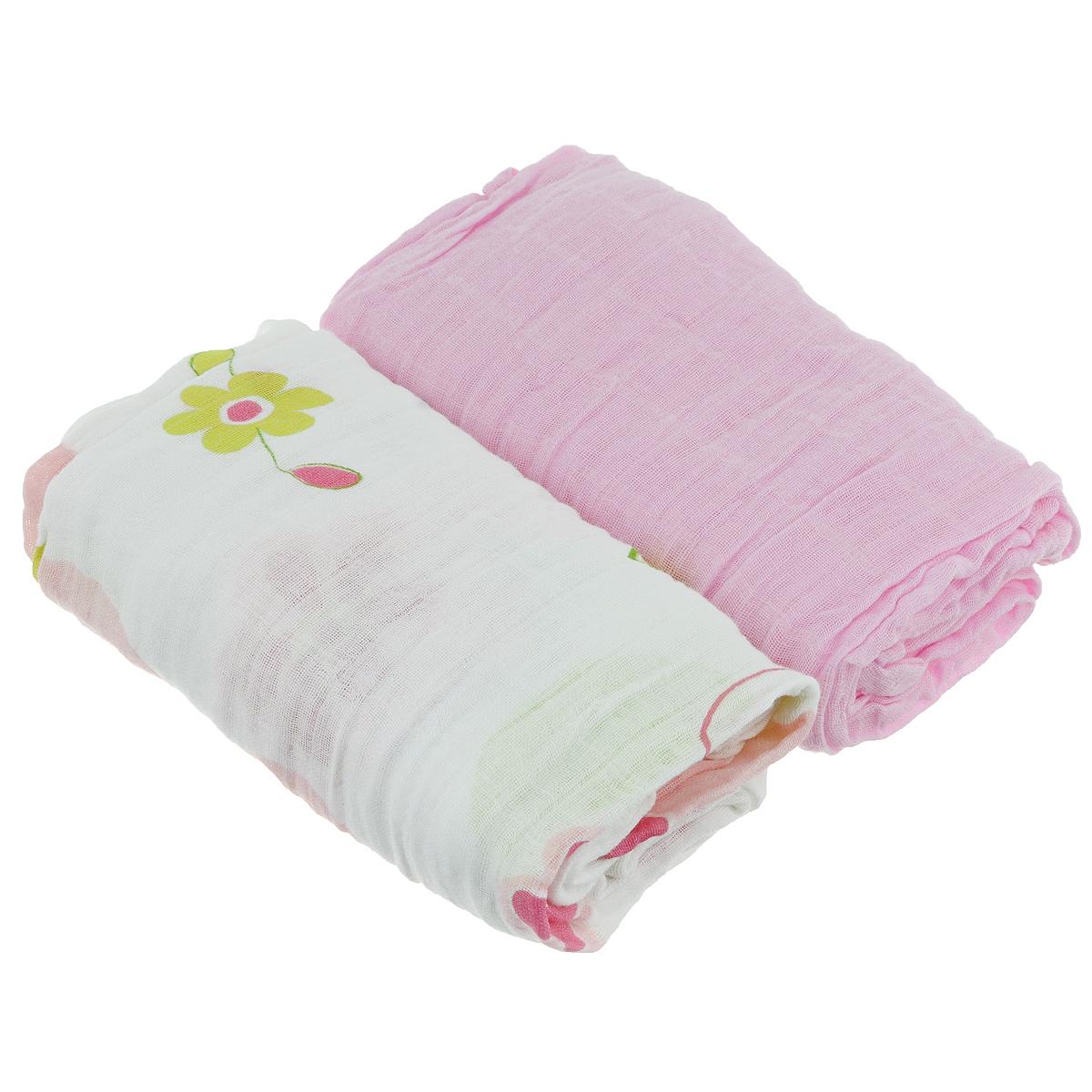 """Пеленки """"Baby Nice"""" муслиновые, цвет: розовый, 115 см х 115 см, 2 шт"""