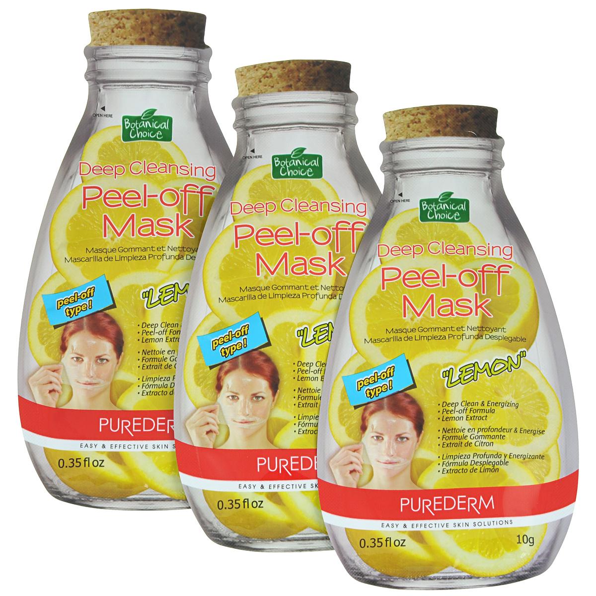 Purederm Глубоко очищающая маска-пилинг для лица Лимон, 3 х 10 г. набор освежающих масок purederm зеленый чай 10 мл x 5