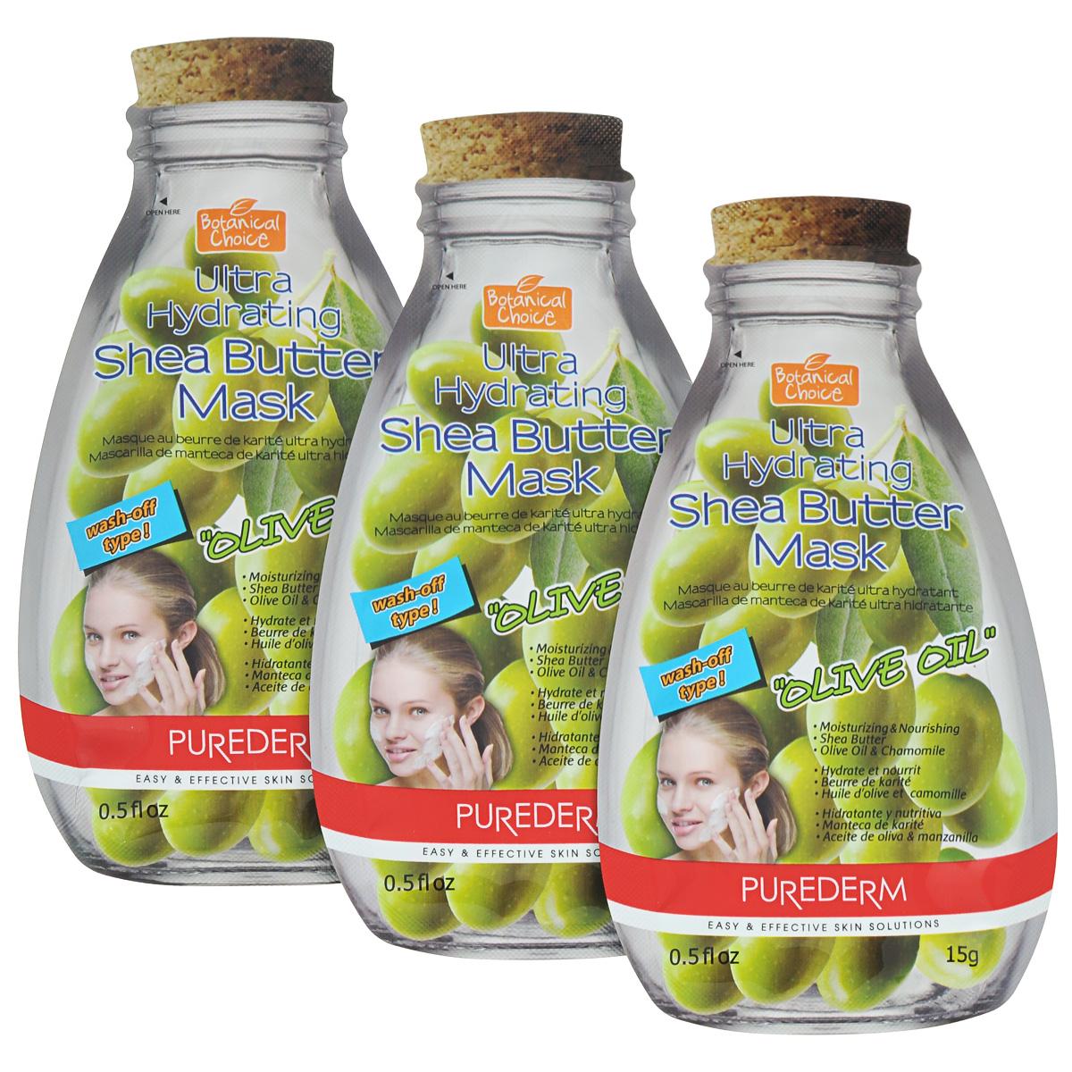 Purederm Ультра-увлажняющая маска для лица с маслом Ши Олива, 3 х 15 г. набор освежающих масок purederm зеленый чай 10 мл x 5