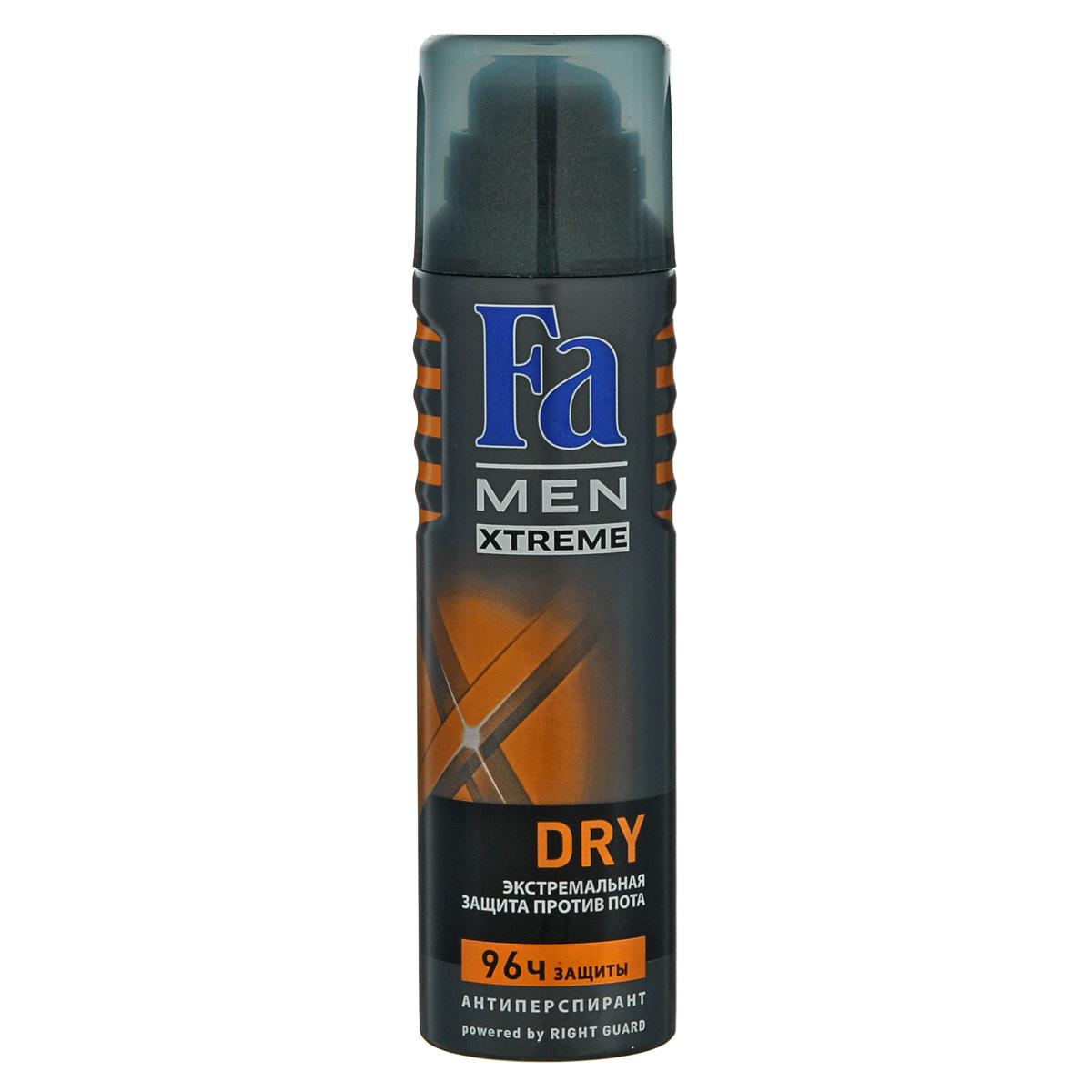 FA MEN Xtreme Дезодорант-аэрозоль Dry, 150 мл12083656Fa MEN Xtreme Dry 96 ч – Экстремальная защита против потоотделения. Инновационная формула с технологией Sweat Detect борется с потом еще до его появления.Формула с микроабсорбентами и антибактериальными ионами серебра.0 % спирта. Также почувствуйте притягательную свежесть, принимая душ с гелем для душа Fa Men.