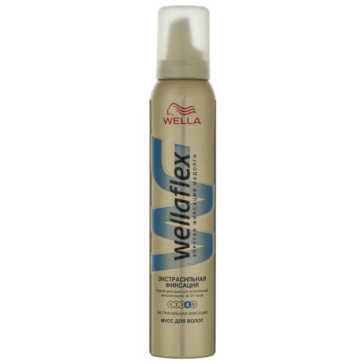 Wellaflex Мусс для укладки волос Экстрасильная фиксация до 24 часов, 200 млWF-81145208Мусс для укладки волос Wellaflex Объем до 2-х дней экстрасильной фиксации обеспечивает упругую фиксацию и заметный объем прически. Формула Запас объема и гибкости образует на волосах структуру, которая, пружиня, помогает поддерживать длительный объем. Мусс сохраняет эластичность волос и защищает их от УФ-лучей. Не склеивает волосы. Характеристики:Объем: 200 мл. Товар сертифицирован. Уважаемые клиенты!Обращаем ваше внимание на измененный дизайн упаковки. Поставка осуществляется в зависимости от наличия на складе.
