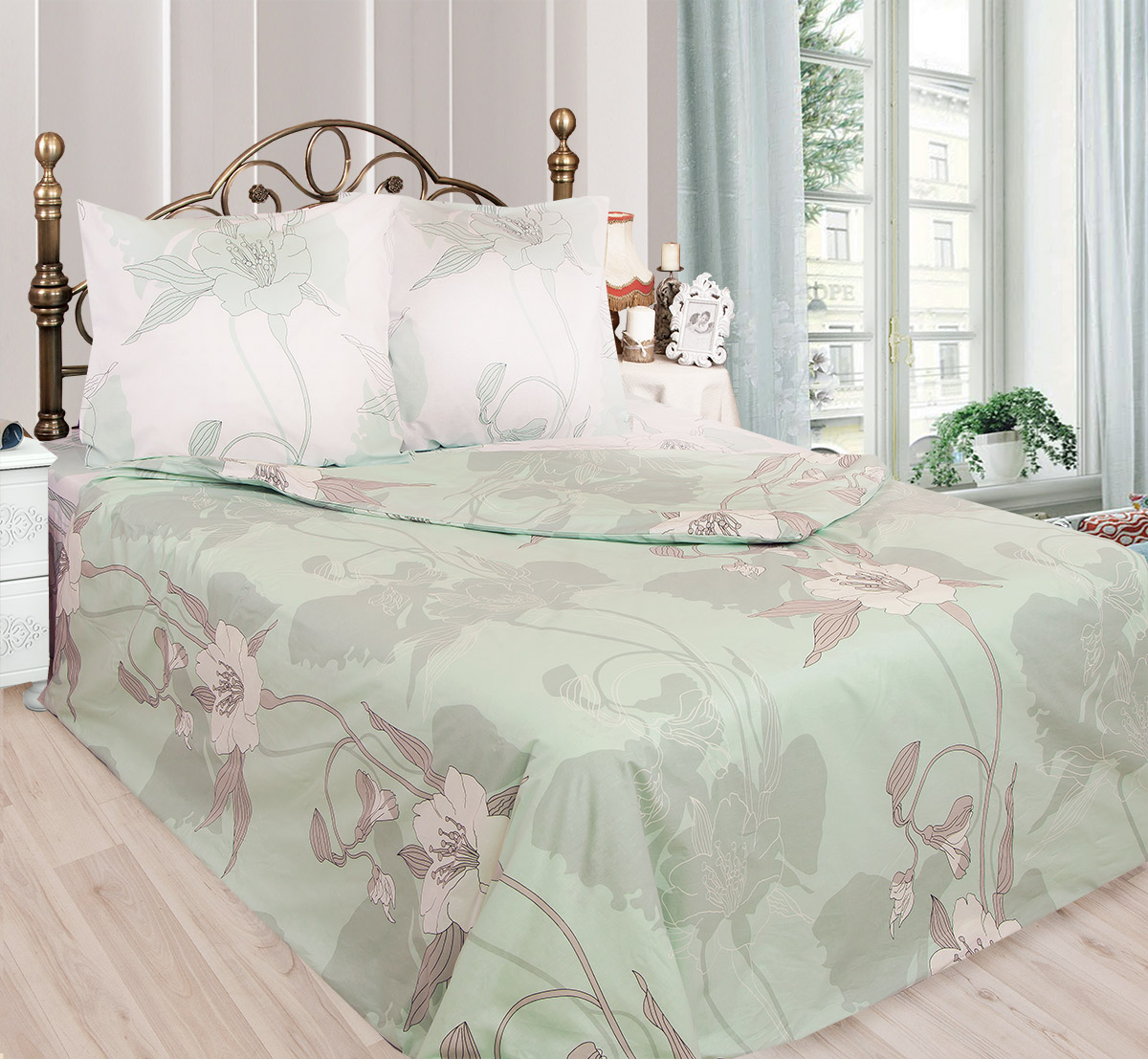 Комплект белья Sova & Javoronok Жасмин (семейный КПБ, бязь), n50, цвет: белый, зеленый sova