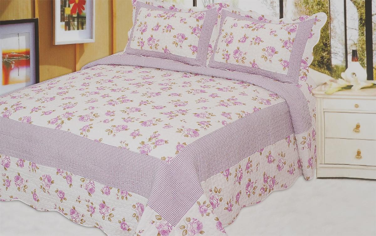 """Комплект для спальни """"Buenas Noches"""" состоит из покрывала и двух наволочек. Верх изделий   выполнен из 100% хлопка. Наполнитель - 100% полиэстер. Изделия оформлены красочным   цветочным рисунком и принтом """"в клетку"""". Комплект для спальни """"Buenas Noches"""" - отличный способ придать спальне уют и привнести в   интерьер что-то новое. Комплект упакован в сумку-чехол на застежке-молнии.  Buenos Noches - продукция с высоким качеством исполнения и с использованием стойких и   безвредных красителей. Размер покрывала: 230 см х 250 см. Размер наволочки: 50 см х 70 см.   Покрывало-230*250, наволочка с валаном-50*70(2шт)"""