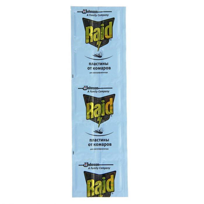 "Пластины от комаров ""Raid"", без запаха, 10 шт"