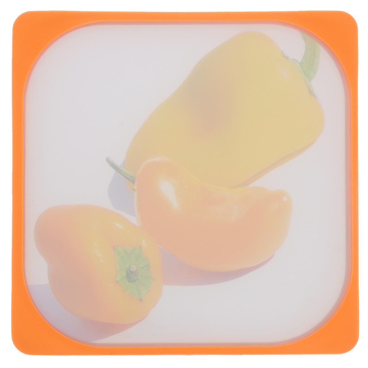 Доска разделочная Frybest Паприка, цвет: оранжевый, 26 х 26 см доска разделочная bravo с силиконовой вставкой цвет коричневый бежевый 33 х 24 х 1 2 см