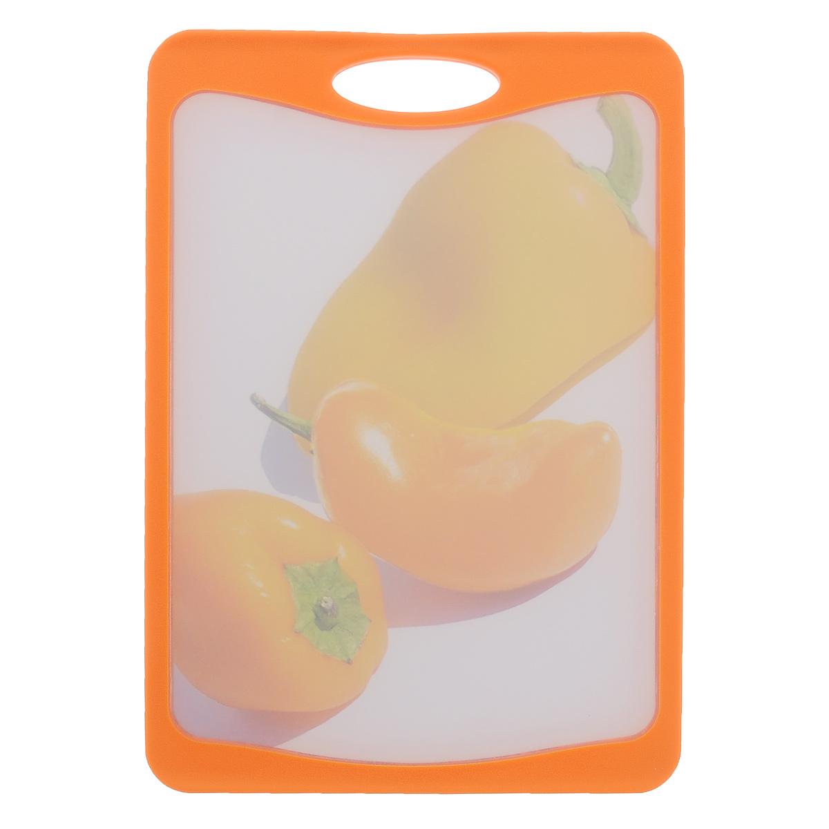 Доска разделочная Frybest Паприка, цвет: оранжевый, 20 х 29 см доска разделочная bravo с силиконовой вставкой цвет коричневый бежевый 33 х 24 х 1 2 см