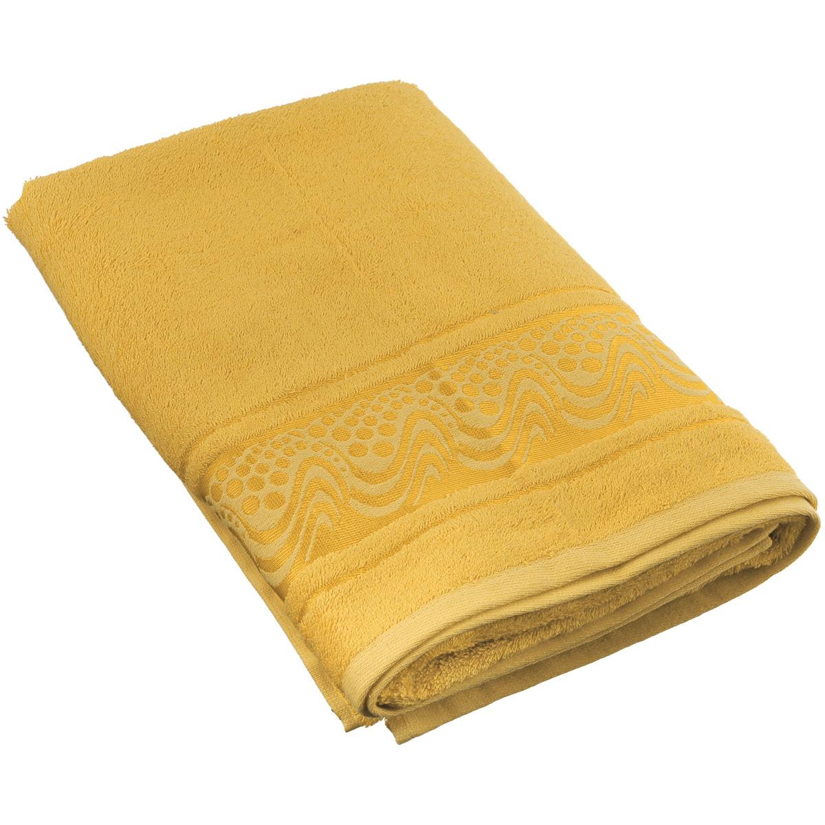 Полотенце Mariposa Aqua, цвет: золотистый, 70 см х 140 см62444Полотенце Mariposa Aqua, изготовленное из 60% бамбука и 40% хлопка, подарит массу положительных эмоций и приятных ощущений.Полотенца из бамбука только издали похожи на обычные. На самом деле, при первом же прикосновении вы ощутите невероятную мягкость и шелковистость. Таким полотенцем не нужно вытираться - только коснитесь кожи - и ткань сама все впитает! Несмотря на богатую плотность и высокую петлю полотенца, оно быстро сохнет, остается легким даже при намокании.Полотенце оформлено волнистым рисунком. Благородный тон создает уют и подчеркивает лучшие качества махровой ткани. Полотенце Mariposa Aqua станет достойным выбором для вас и приятным подарком для ваших близких.Размер полотенца: 70 см х 140 см.