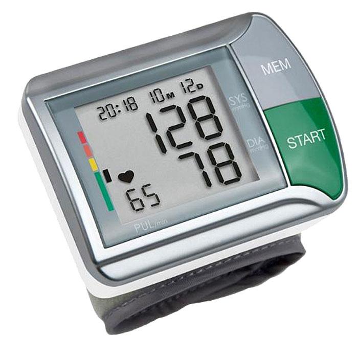 Medisana Запястный тонометр HGN00000812Тонометр на запястье Medisana HGN - компактный автоматический прибор с памятью на двух пользователей по 60 измерений на каждого. В нем применяется достаточно надежный и точный осциллометрический метод измерений артериального давления. Тонометр производит измерение кровяного давления на запястье с помощью микропроцессора, который с помощью датчика давления анализирует колебания давления, возникающие на артерии при накачивании и выпуске воздуха из манжеты.Корпус прибора объединен с манжетой. Манжета имеет размеры 300 x 70 мм и образует периметр 14 x 19,5 см для взрослых.Тонометр на запястье Medisana HGN выводит данные на цифровой экран. Одновременно отображаются артериальное давление (систолическое и диастолическое), пульс, текущее время и дата. Для максимального удобства имеется цветная шкала для оценки результатов измерения в соответствие с нормами Всемирной Организации Здравоохранения (ВОЗ).Уважаемые клиенты! Обращаем ваше внимание на то, что прибор работает только от батареек.