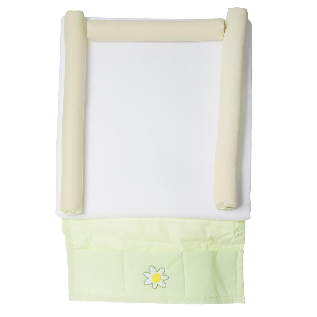 Доска пеленальная Fairy На лугу, мягкая, с карманом, цвет: белый, салатовый fairy доска пеленальная жирафик
