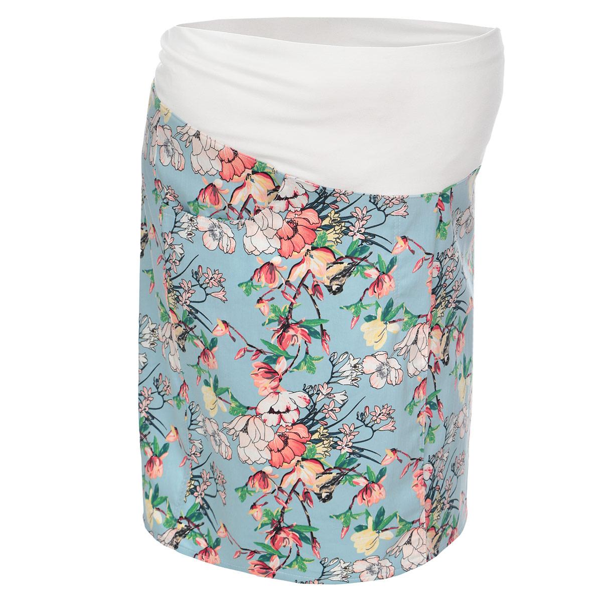 Юбка для беременных Nuova Vita, цвет: голубой, розовый. 6103.2. Размер 426103.2Летняя юбка Nuova Vita для беременных выполнена из качественного хлопкового материала, что позволяет изделию не деформироваться при носке. Модель прямого кроя дополнена бандажом из мягкой ткани с эластичной поддерживающей резинкой, не сдавливающей живот даже на последнем месяце беременности. Модель оформлена цветочным принтом, спереди дополнена двумя втачными карманами, сзади предусмотрена шлица в среднем шве. Стильная и удобная юбка займет достойное место в гардеробе молодой мамы.