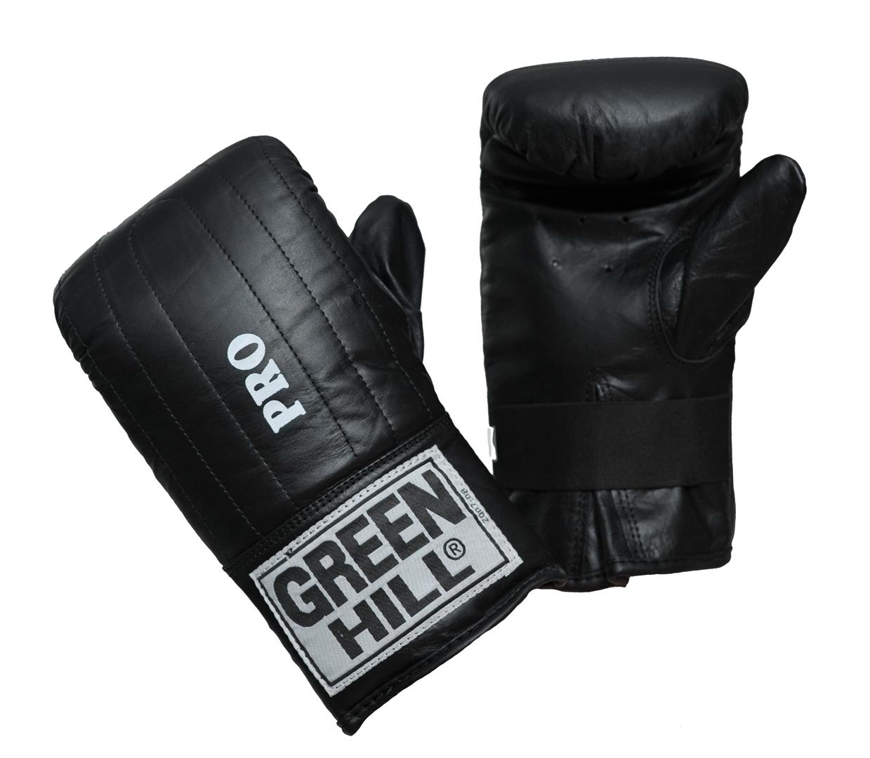 Перчатки снарядные Green Hill Pro, цвет: черный. Размер MPMP-2064Снарядные перчатки Green Hill Pro предназначены для отработки ударов по мешкам и лапам, а также для легких спаррингов. Перчатки выполнены из натуральной кожи с мягким наполнителем внутри. Манжет не резинке позволяет быстро снимать и одевать перчатки, плотно фиксирует их на руке.