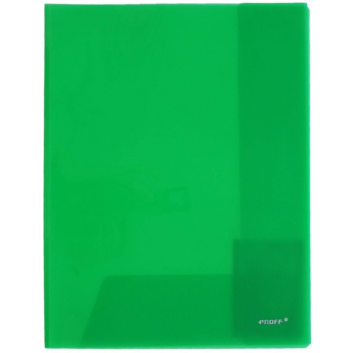 Папка-уголок Proff, цвет: зеленый, 2 клапана. Формат А4E311A/30-TF-03Папка-уголок Proff, изготовленная из высококачественного полипропилена, этоудобный и практичный офисный инструмент, предназначенный для хранения итранспортировки рабочих бумаг и документов формата А4. Полупрозрачнаяпапка оснащена двумя клапана внутри для надежного удержания бумаг.Папка-уголок - это незаменимый атрибут для студента, школьника, офисногоработника. Такая папка надежно сохранит ваши документы и сбережет их отповреждений, пыли и влаги.