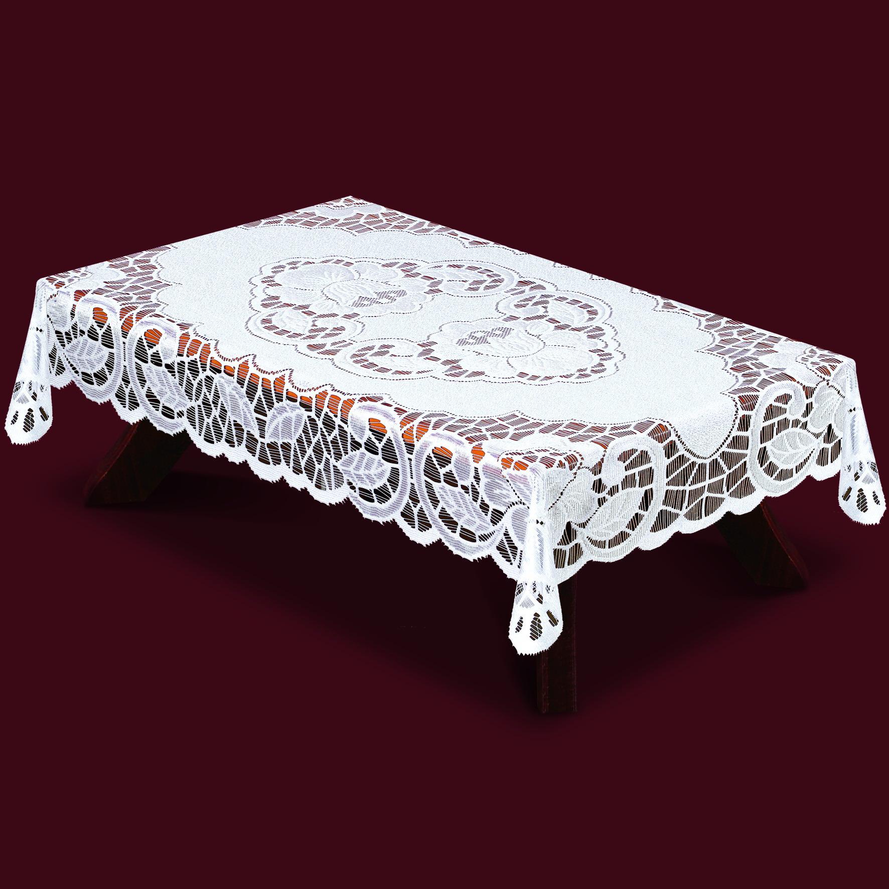 Скатерть Haft Skarb Babuni, прямоугольная, цвет: белый, 130x 180 см. 38850/13038850/130Великолепная прямоугольная скатерть Haft Skarb Babuni, выполненная из 100% полиэстера, органично впишется в интерьер любого помещения, а оригинальный дизайн удовлетворит даже самый изысканный вкус. Скатерть изготовлена из сетчатого материала с ажурным орнаментом по краям и по центру. Скатерть Haft Skarb Babuni создаст праздничное настроение и станет прекрасным дополнением интерьера гостиной, кухни или столовой.