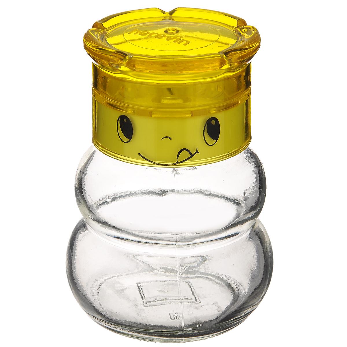 Мельница для специй Herevin, цвет: желтый, 200 мл131650-000_желтыйМельница Herevin, изготовленная из стекла и пластика, легка в использовании. Стоит только покрутить верхнюю часть мельницы, и вы с легкостью сможете приправить по своему вкусу любое блюдо. Крышка украшена изображением забавной мордочки. Механизм мельницы изготовлен из пластика. Оригинальная мельница модного дизайна будет отлично смотреться на вашей кухне.Высота: 10 см.Диаметр (по верхнему краю): 4 см.Диаметр основания: 6 см.
