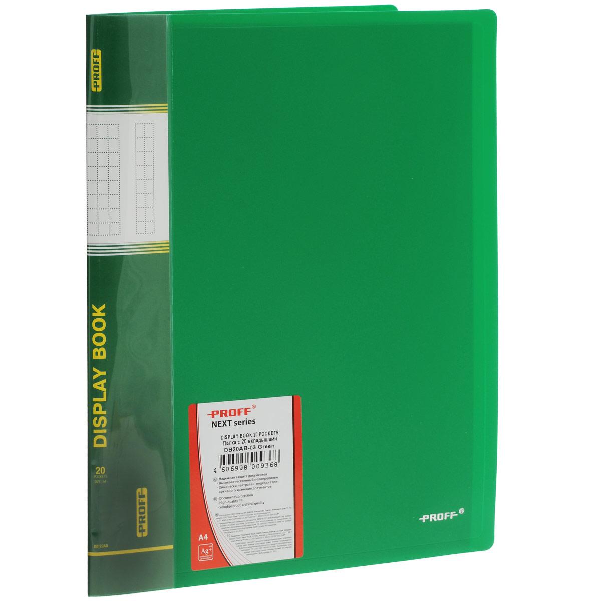 Папка Proff Next, на 20 файлов, цвет: зеленый. Формат А4DB20AB-03Папка с файлами Proff Next - это удобный и практичный офисный инструмент,предназначенный для хранения и транспортировки рабочих бумаг и документовформата А4. Обложка выполнена из плотного полипропилена. Папка включает в себя 20 прозрачных файлов формата А4. Папка с файлами - это незаменимый атрибут для студента, школьника,офисного работника. Такая папка надежно сохранит ваши документы и сбережетих от повреждений, пыли и влаги.