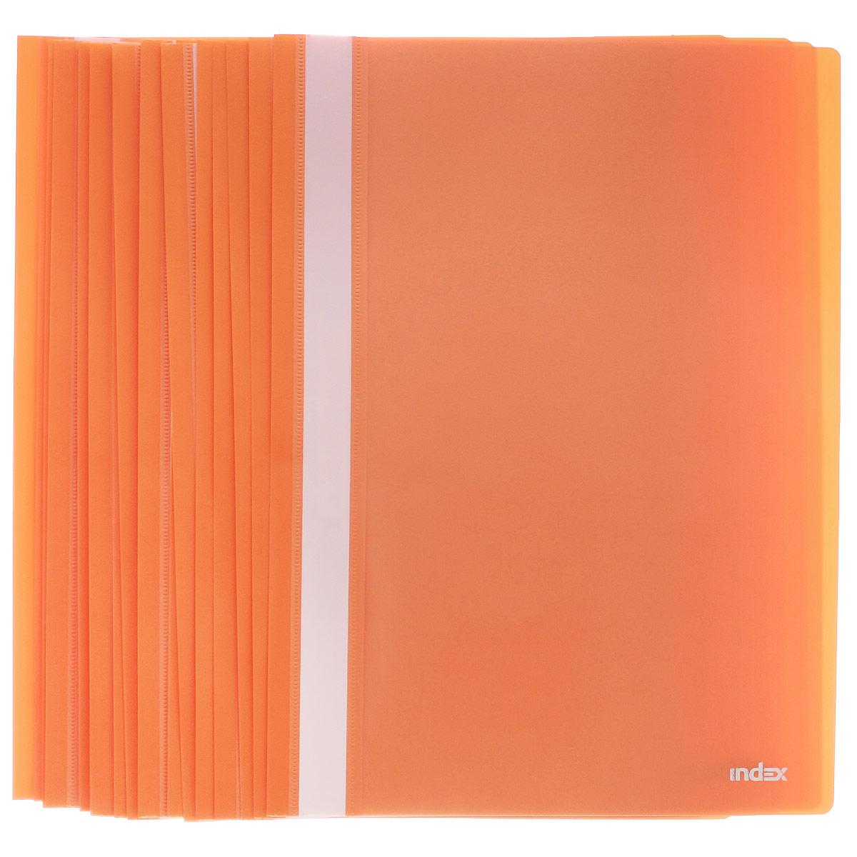 Папка-скоросшиватель Index, цвет: оранжевый. Формат А4, 20 штI200/ORПапка-скоросшиватель Index, изготовленная из высококачественного полипропилена, это удобный и практичный офисный инструмент, предназначенный для хранения и транспортировки рабочих бумаг и документов формата А4. Папка оснащена верхним прозрачным матовым листом и металлическим зажимом внутри для надежного удержания бумаг. В наборе - 20 папок.Папка-скоросшиватель - это незаменимый атрибут для студента, школьника, офисного работника. Такая папка надежно сохранит ваши документы и сбережет их от повреждений, пыли и влаги.Комплектация: 20 шт.