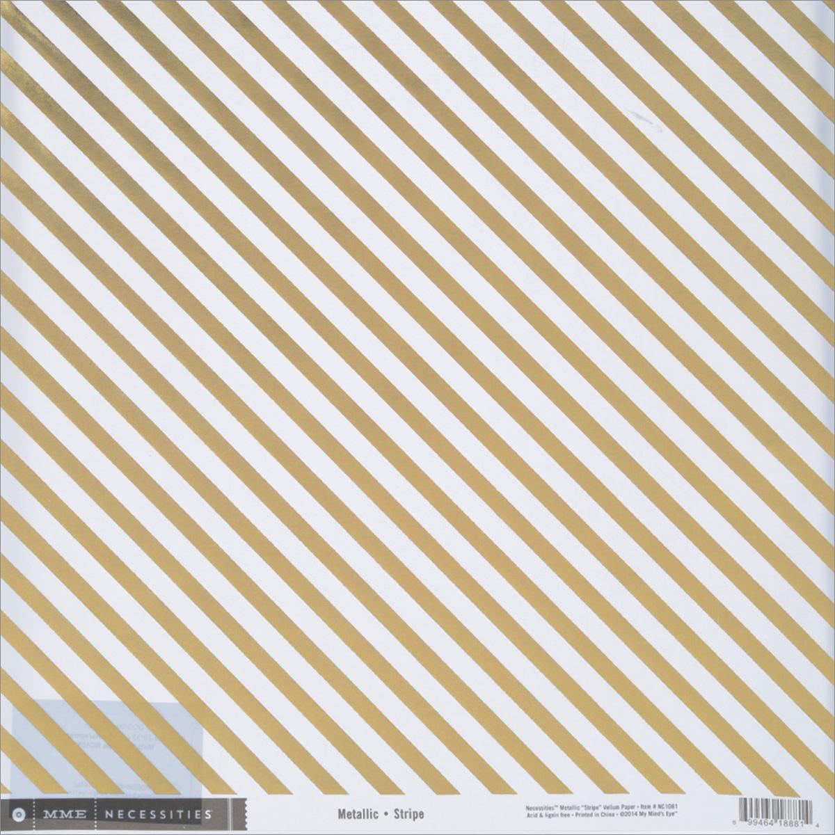 Веллум My Minds Eye Metallic Stripe, 30,5 х 30,5 смNC1081Веллум My Minds Eye Metallic Stripe прекрасно подойдет для оформления творческих работ в технике скрапбукинга. Веллум - это вид бумаги, который переводится как калька, хотя он гораздо плотнее и более однороден по фактуре. Его можно использовать для украшения фотоальбомов, скрап-страничек, подарков, конвертов, фоторамок, открыток и многого другого. Веллум оформлен золотистыми фольгированными полосками. Скрапбукинг - это хобби, которое способно приносить массу приятных эмоций не только человеку, который этим занимается, но и его близким, друзьям, родным. Это невероятно увлекательное занятие, которое поможет вам сохранить наиболее памятные и яркие моменты вашей жизни, а также интересно оформить интерьер дома. Размер листа: 30,5 см х 30,5 см. Плотность: 80 г/м2.