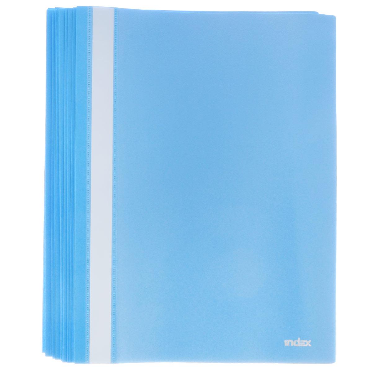 Папка-скоросшиватель Index, цвет: голубой. Формат А4, 20 штI200/LBUПапка-скоросшиватель Index, изготовленная из высококачественного полипропилена, это удобный и практичный офисный инструмент, предназначенный для хранения и транспортировки рабочих бумаг и документов формата А4. Папка оснащена верхним прозрачным матовым листом и металлическим зажимом внутри для надежного удержания бумаг. В наборе - 20 папок.Папка-скоросшиватель - это незаменимый атрибут для студента, школьника, офисного работника. Такая папка надежно сохранит ваши документы и сбережет их от повреждений, пыли и влаги.Комплектация: 20 шт.