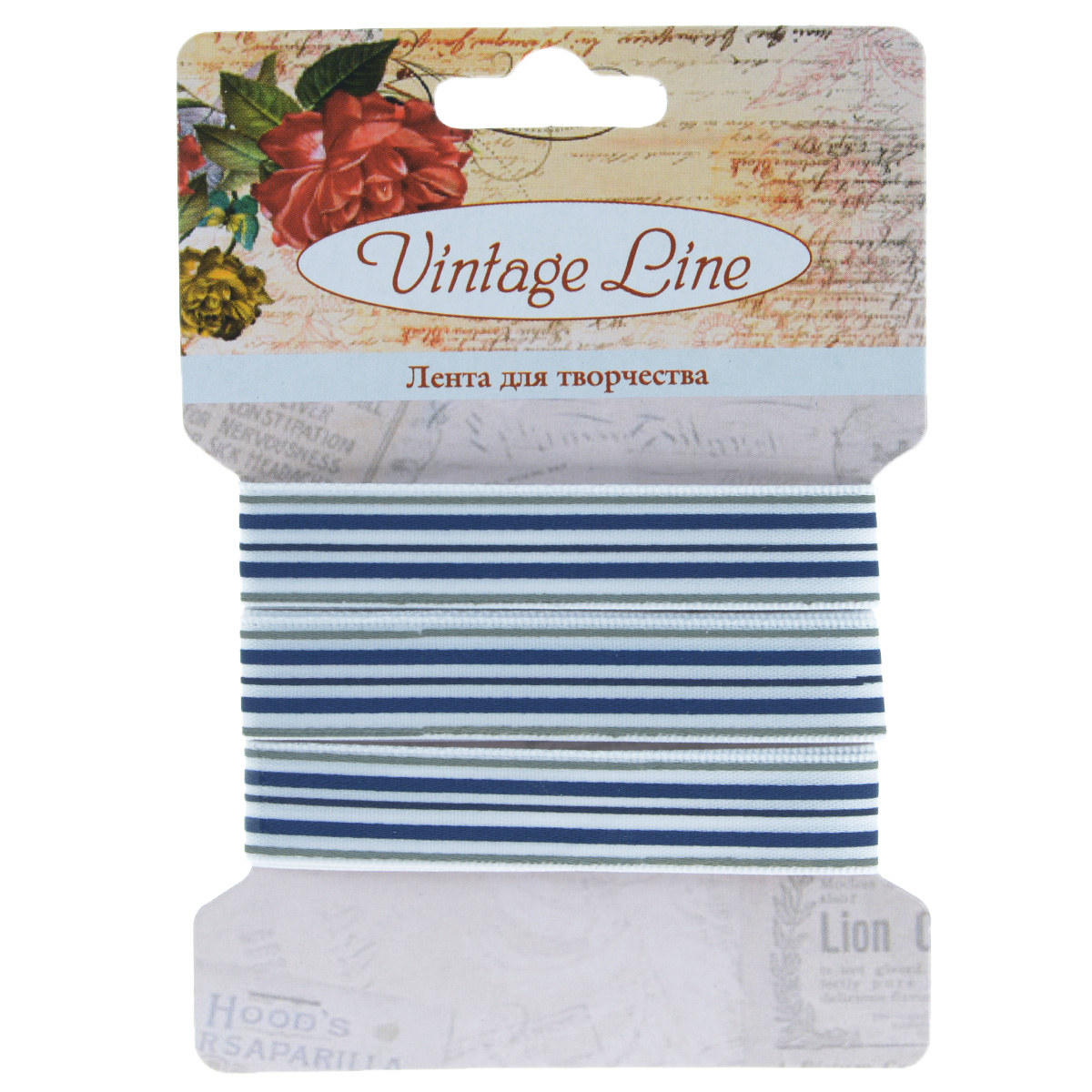Лента декоративная Vintage Line, цвет: белый, синий, ширина 1,2 см, длина 1 м. 77093087709308Декоративная лента Vintage Line выполнена из текстиля и оформлена принтом в полоску. Такая лента идеально подойдет для оформления различных творческих работ таких, как скрапбукинг, аппликация, декор коробок и открыток и многое другое. Лента наивысшего качества практична в использовании. Она станет незаменимым элементом в создании рукотворного шедевра. Ширина: 1,2 см.Длина: 1 м.