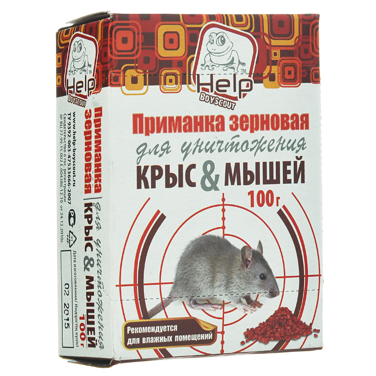 Приманка зерновая HELP для уничтожения крыс и мышей, 100 г средство защитное грызунофф зерновая приманка 100 г в пакете и коробочке