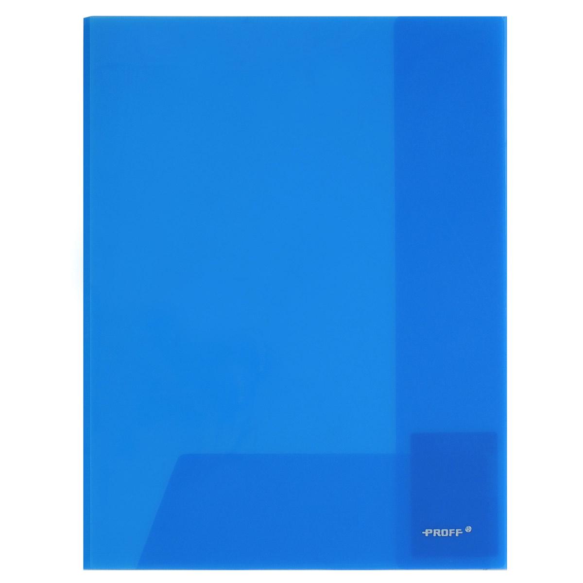 Папка-уголок Proff, цвет: синий, 2 клапана. Формат А4E311A/30-TF-04Папка-уголок Proff, изготовленная из высококачественного полипропилена, это удобный и практичный офисный инструмент, предназначенный для хранения и транспортировки рабочих бумаг и документов формата А4. Полупрозрачная папка оснащена двумя клапана внутри для надежного удержания бумаг. Папка-уголок - это незаменимый атрибут для студента, школьника, офисного работника. Такая папка надежно сохранит ваши документы и сбережет их от повреждений, пыли и влаги.