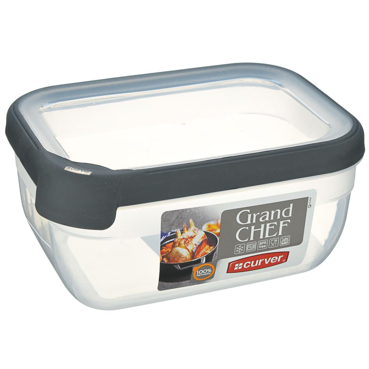 Емкость для заморозки и СВЧ Curver Grand Chef, цвет: прозрачный, серый, 1,8 л емкость для заморозки и свч curver grand chef цвет серый 2 4 л