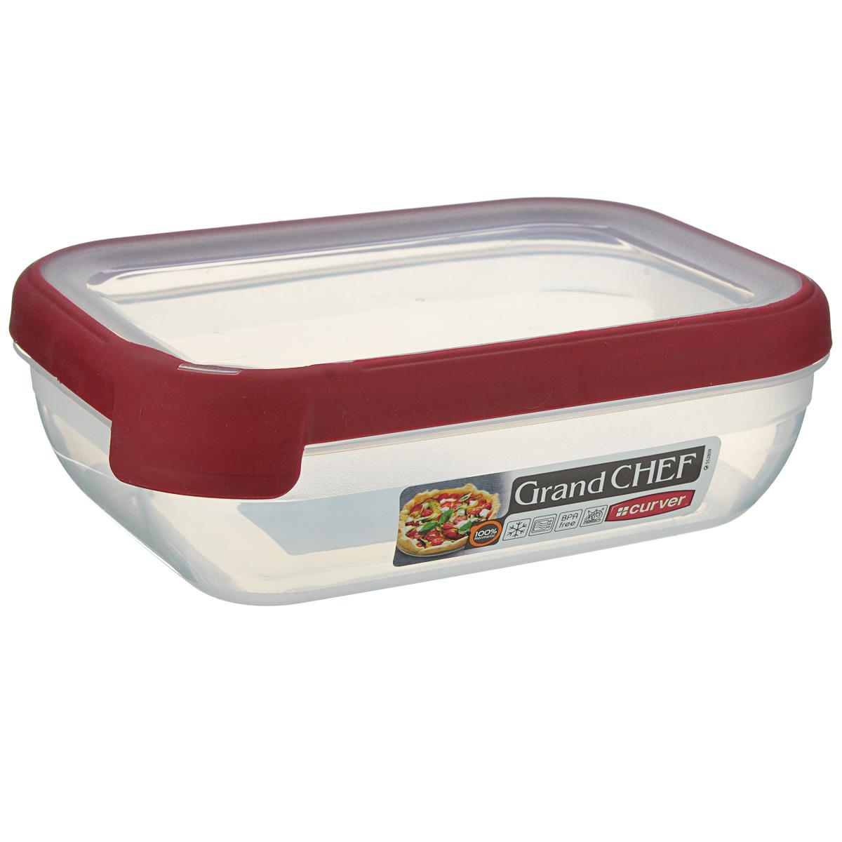 Емкость для заморозки и СВЧ Curver Grand Chef, цвет: бордовый, 1,2 л контейнер для продуктов curver grand chef 2 6 л серая крышка