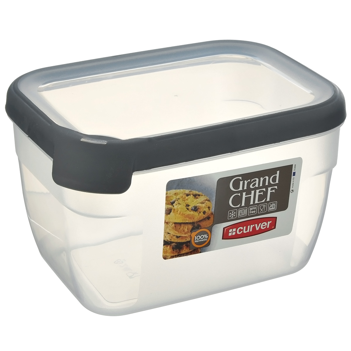 Емкость для заморозки и СВЧ Curver Grand Chef, цвет: серый, 2,4 лМ 2829Прямоугольная емкость для заморозки и СВЧ Grand Chef изготовлена из высококачественного пищевого пластика (BPA free), который выдерживает температуру от -40°С до +100°С. Стенки емкости и крышка прозрачные. Крышка по краю оснащена силиконовой вставкой, благодаря которой плотно и герметично закрывается, дольше сохраняя продукты свежими и вкусными. Емкость удобно брать с собой на пикник, дачу, в поход или просто использовать для хранения пищи в холодильнике.Можно использовать в микроволновой печи и для заморозки в морозильной камере. Можно мыть в посудомоечной машине.