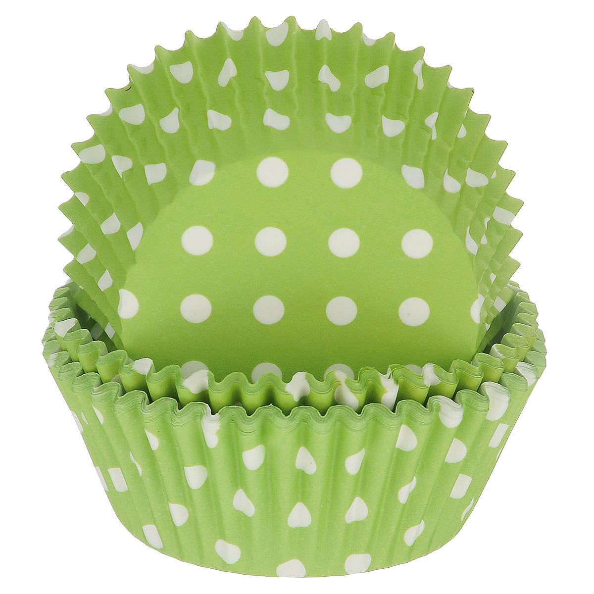Набор бумажных форм для кексов Dolce Arti Горошек, цвет: зеленый, диаметр 5 см, 50 штDA080207Набор Dolce Arti Горошек состоит из 50 бумажных форм для кексов, оформленных принтом в горох. Они предназначены для выпечки и упаковки кондитерских изделий, также могут использоваться для сервировки орешков, конфет и много другого. Для одноразового применения. Гофрированные бумажные формы идеальны для выпечки кексов, булочек и пирожных.Высота стенки: 3 см. Диаметр (по верхнему краю): 7 см.Диаметр дна: 5 см.