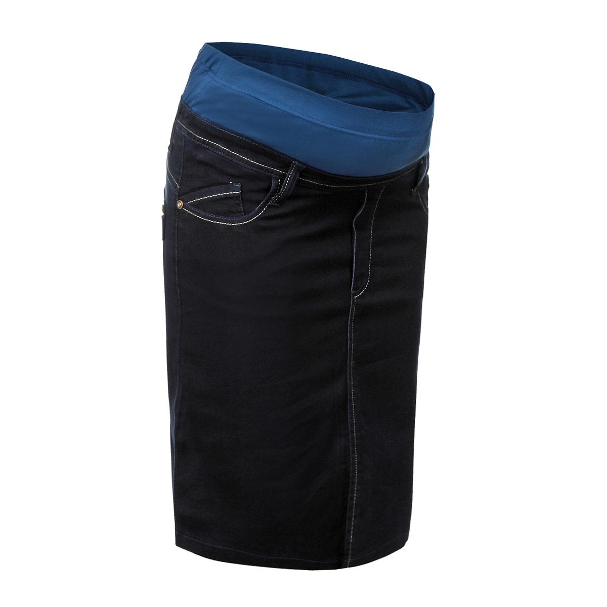 Юбка для беременных Nuova Vita, цвет: темно-синий. 6604.1. Размер 426604.1Очень удобная джинсовая юбка для беременных Nuova Vita с бандажом под живот, изготовленная из эластичного хлопка, придает женщине элегантность и индивидуальность. Юбка прямого силуэта имеет спереди - два втачных кармана и два маленьких накладных кармашка, а сзади - два накладных кармана. Сзади юбки небольшая шлица. Имеются шлевки для ремня и имитация ширинки. Бандаж из стрейч-ткани поддерживает живот и уменьшает нагрузку на поясницу, с внутренней стороны регулируется эластичной резинкой на пуговице.Идеальная посадка, длинна до колен, прекрасный выбор для стильных женщин в качестве повседневной одежды. Создавайте ваш неповторимый образ, комбинируя юбку с блузами и туниками!