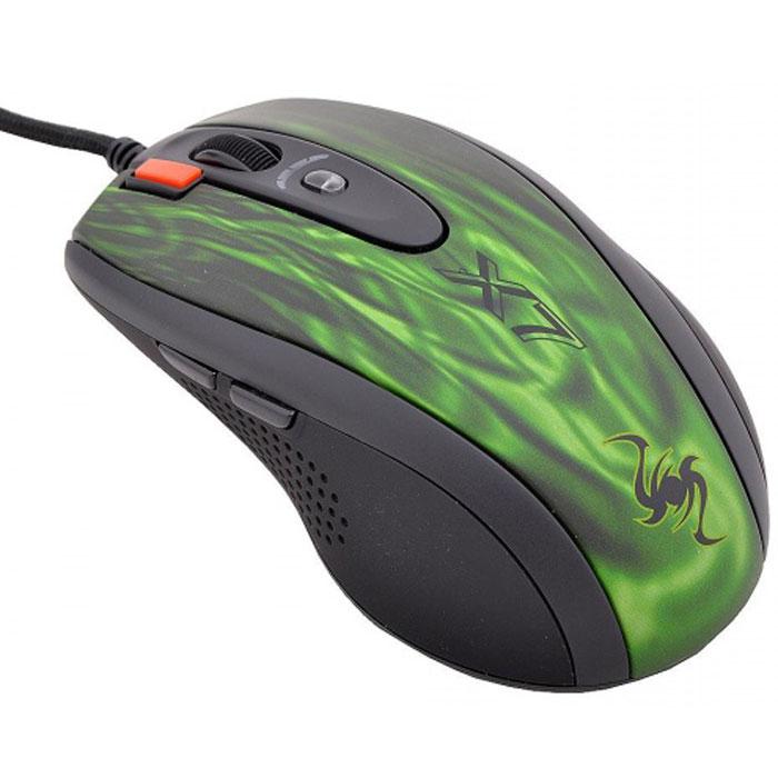"""A4Tech XL-750BK, Green Black игровая мышь569539A4Tech XL-750BK - игровая мышь, обеспечивающая полный контроль игры в любой ситуации. Классическаяэргономичная форма корпуса мышей X7. Новая технология «Абсолютный контроль курсора». Оторвите мышь отповерхности стола и курсор тут же замрет. Теперь вы сможете полностью контролировать ваши игровыедействия, совершая мышью даже самые резкие движения. Фиксация курсора позволяет быстро зафиксироватьцель в шутерах.6 режимов разрешения с цветным индикатором. Разрешение переключается кнопкой «DPI», котораяподсвечивается разными цветами в зависимости от выбранного разрешения. Максимальное разрешение - 3600dpi. При возвращении к повседневной работе за компьютером можно понизить его до 600 dpi. Кнопка «Тройнойклик» позволяет делать сразу три выстрела одним нажатием. Регулируемое время отклика. Вы можете менятьвремя отклика для двух основных кнопок мыши и кнопки """"3X Fire"""" от 3 до 30 мс.Увеличенная скорость обмена данных. Мышь мгновенно среагирует даже на молниеносное движение руки - ввосемь раз быстрее, чем обычная USB-мышка! - и даст вам решающее преимущество, которое можетпредопределить исход игры. Классическая эргономичная форма X7 обеспечивает максимальный комфорт вигре. Мышь исключительно плавно движется при любых поворотах, реагируя на малейшие движения быстро ичетко. Сенсор модели расположен непосредственно под центром ладони, что обеспечивает максимальнуюточность позиционирования курсора.Встроенная память 16 Кб. Теперь у вас есть уникальная возможность запрограммировать мышь выполнятьлюбые игровые действия одним кликом! Создавайте свои скрипты и интегрируйте их во встроенную памятьвашей мыши. Играйте на любых компьютерах, сохранив ваши уникальные установки в памяти мыши. Для этогопросто воспользуйтесь удобным и наглядным редактором скриптов Oscar, который вы найдете наприлагающемся диске. Используйте мышь вместо клавиатуры. Каждая кнопка мыши теперь может быть настроена так, чтобывоспроизводить любые команды клавиатуры, в лю"""