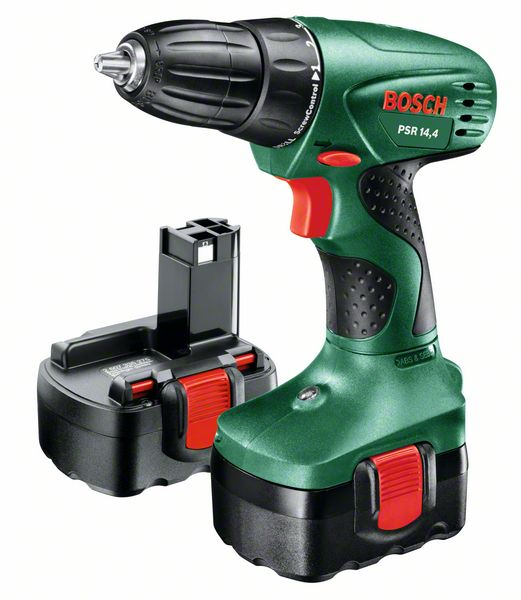 Шуруповерт Bosch PSR 14.4 06039554210603955421Инструмент предназначен для работы с винтами и шурупами, а также для сверления отверстий в дереве,керамике, пластмассах и металле. Это бытовая модель, не рассчитанная на чрезмерные нагрузки. К преимуществам модели относятся: 2 вида регулировок (крутящего момента и количества оборотов) – для наиболее точной работы; отличная производительность при работе с крепежом (крутящий момент до 28 Нм); удобный хват и удачная развесовка; патрон типа БЗП с фиксацией шпинделя Auto-Lock – для упрощенной смены насадок; наличие светодиодов для подсвечивания рабочей зоны. В качестве источника питания используется никель-кадмиевая батарея. При соблюдении правильного режимазарядки аккумулятор этого типа прослужит вам долгое время. Время заряда аккумулятора: 3 часа.