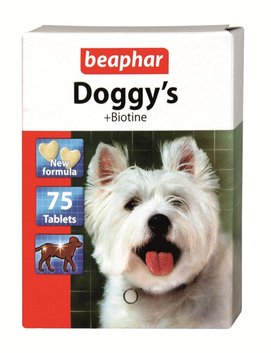 Лакомство витаминизированное для собак Beaphar Doggys Biotine, 75 таблеток13134Лакомство для собак с биотином Beaphar Doggys Biotine это идеальное дополнение к каждодневному рациону. Способствует улучшению вида шерсти, приданию ей блеска и жизненной силы, делает кожу и шерсть собаки здоровыми. Особенно рекомендуется длинношерстным собакам. Может быть использовано как поощрение. Дозировка на 1 кг веса животного: 1-4 таблетки ежедневно. Состав: молоко и молочные продукты, сахара, минеральные вещества, моллюски и ракообразные (креветки не менее 4%), дрожжи. Анализ: зола 12,7%, протеин 9,2%, клетчатка 7,5%, влага 4,7%, жиры 2,6%, кальций 1,8%, фосфор 1,3%, натрий 0,2%, калий 0,03%. Добавки на 1 кг: витамин В1 - 62 мг., витамин В2 - 49 мг., витамин В6 - 50 мг., витамин В12 - 2550 МЕ, пантотеновая кислота (витамин В5) - 62 мг, никотинамид - 747 мг., биотин - 1570 МЕ, таурин - 940 мг. Товар сертифицирован.Тайная жизнь домашних животных: чем занять собаку, пока вы на работе. Статья OZON Гид