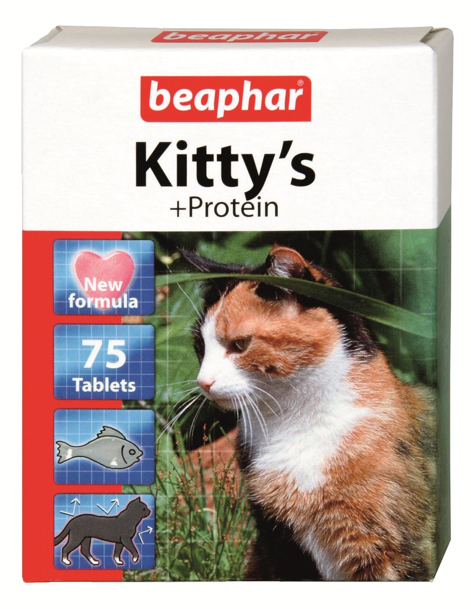 Лакомство витаминизированное Beaphar Kitty's Protein для кошек, с рыбой, 75 таблеток beaphar beaphar cat snaps витамины для кошек 75 таблеток