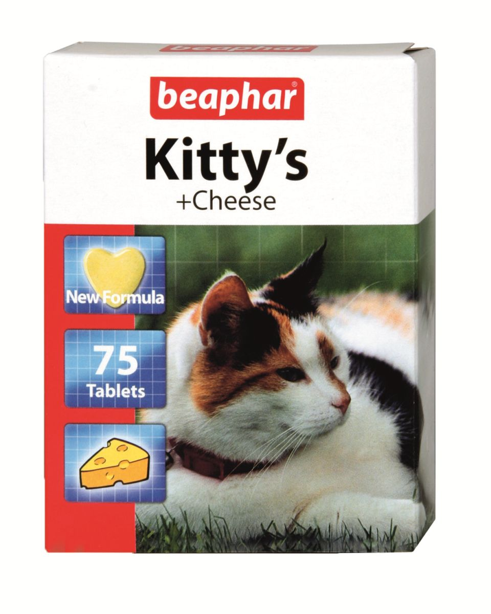 Лакомство витаминизированное для кошек Beaphar Kitty's Cheese, с сыром, 75 таблеток beaphar beaphar cat snaps витамины для кошек 75 таблеток
