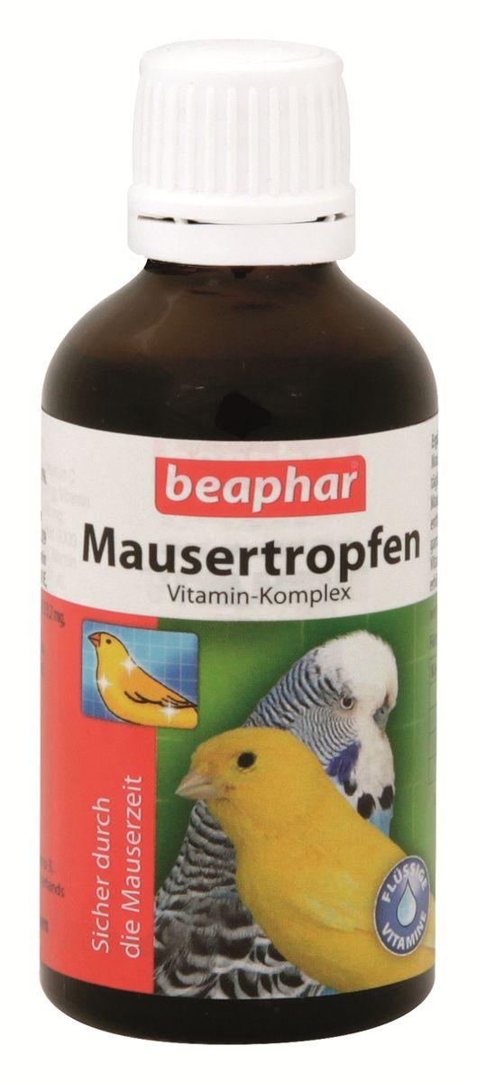 Витамины для птиц Beaphar Mausertropfen, в период линьки, 50 мл beaphar beaphar mausertropfen витаминные капли для птиц в период линьки 50 мл