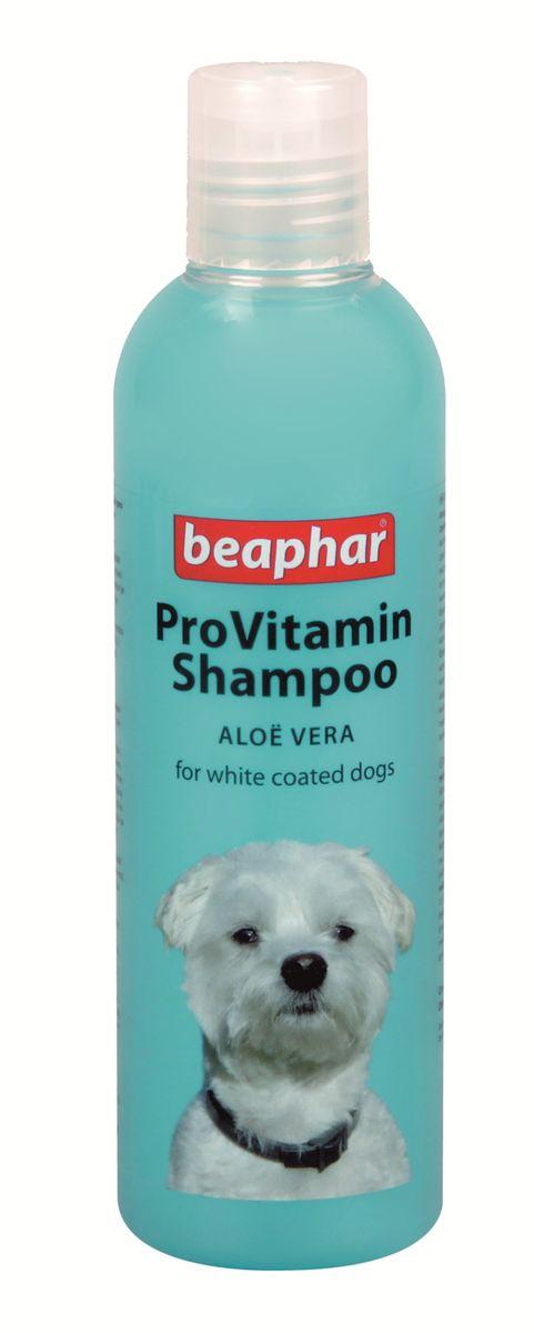 Шампунь для собак белых окрасов Beaphar Pro Vitamin, 250 мл17826Шампунь Beaphar Pro Vitamin специально создан для мягкого ухода за шерстью собак белого и светлого окрасов. Шампунь не имеет отбеливателя, а активизирует натуральный пигмент шерсти, делая ее цвет более насыщенным. Состав шампуня обогащен экстрактом алоэ вера, который защищает кожу и шерсть от потери влаги. После применения шампуня, шерсть начинает лучше расчесываться и приобретает особый блеск. Шампунь нейтрален к РН кожи животных, поэтому может использоваться для мытья собак с чувствительной кожей. Имеет приятный цветочный аромат.Способ применения: шампунь концентрированный и может быть разведен водой 1:1. Количество используемого шампуня зависит от размера собаки. Смочите шерсть теплой водой и нанесите шампунь, мягко массируя, чтобы он вспенился. Оставьте на 2-3 минуты и тщательно смойте. По окончании просушите шерсть полотенцем.Объем: 250 мл.Товар сертифицирован.