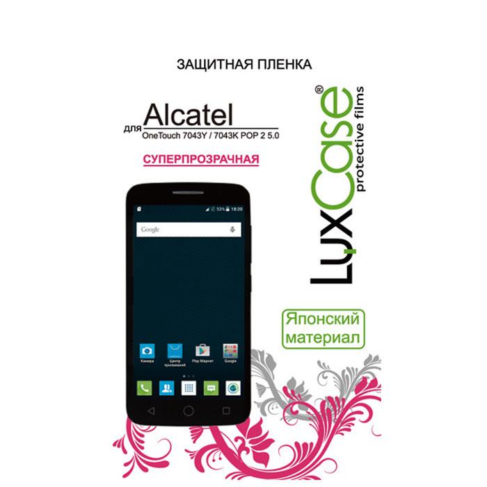 Luxcase защитная пленка для AlcatelOT-7043K Pop 2 (5) LTE, суперпрозрачная51327Защитная пленка Luxcase сохраняет экран смартфона гладким и предотвращает появление на нем царапин и потертостей. Данная модель не снижает чувствительности на нажатие. На ней есть все технологические отверстия. Благодаря использованию высококачественного японского материала пленка легко наклеивается, плотно прилегает, имеет высокую прозрачность и устойчивость к механическим воздействиям. Потребительские свойства и эргономика сенсорного экрана при этом не ухудшаются.