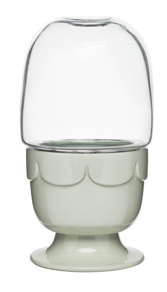 Горшок для цветов Sagaform, с крышкой, цвет: серо-зеленый, прозрачный, диаметр 11 см рубанок электрический gho 6500 650 вт 82 мм bosch