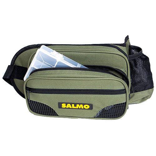 Сумка рыболовная поясная Salmo 59, цвет: зеленый, черный, 26 см х 15 см х 6,5 см коробка рыболовная salmo allround универсальная 30 x 20 x 4 5 см