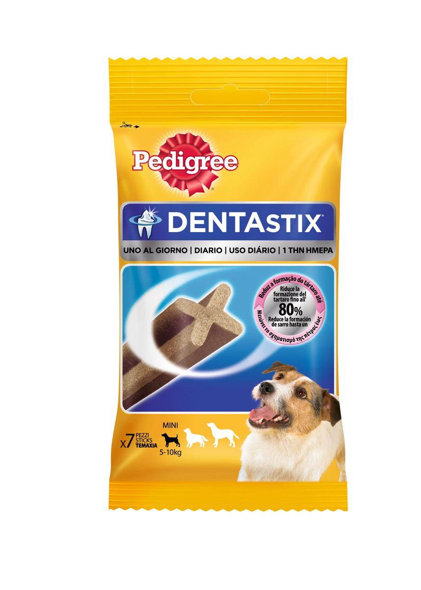 Лакомство Pedigree Denta Stix, для собак мелких пород, 110 г40165Лакомство Pedigree Denta Stix выполнено в виде жевательных палочек и предназначено для собак маленьких пород (весом 5 - 10 кг). Это прекрасное лакомство и средство для чистки зубов. Жевательное лакомство не подходит для щенков моложе 4-х месяцев.Состав: злаки, продукты растительного происхождения, минеральные вещества (включая 2,4%триполифосфата натрия), мясо и субпродукты, белковые растительные экстракты, ароматизатор говяжий - 1,33 мг/100 г, ароматизатор куриный - 2,20 мг/100 г. Пищевая ценность (в 100 г): белок - 9,5 г, жиры - 2,6 г, зола - 5,8 г, клетчатка - 2,8 г, влажность - 8,5 г, сульфат цинка - 104,5 мг. Вес упаковке: 110 г. Количество в упаковке: 7 шт. Товар сертифицирован.Тайная жизнь домашних животных: чем занять собаку, пока вы на работе. Статья OZON Гид