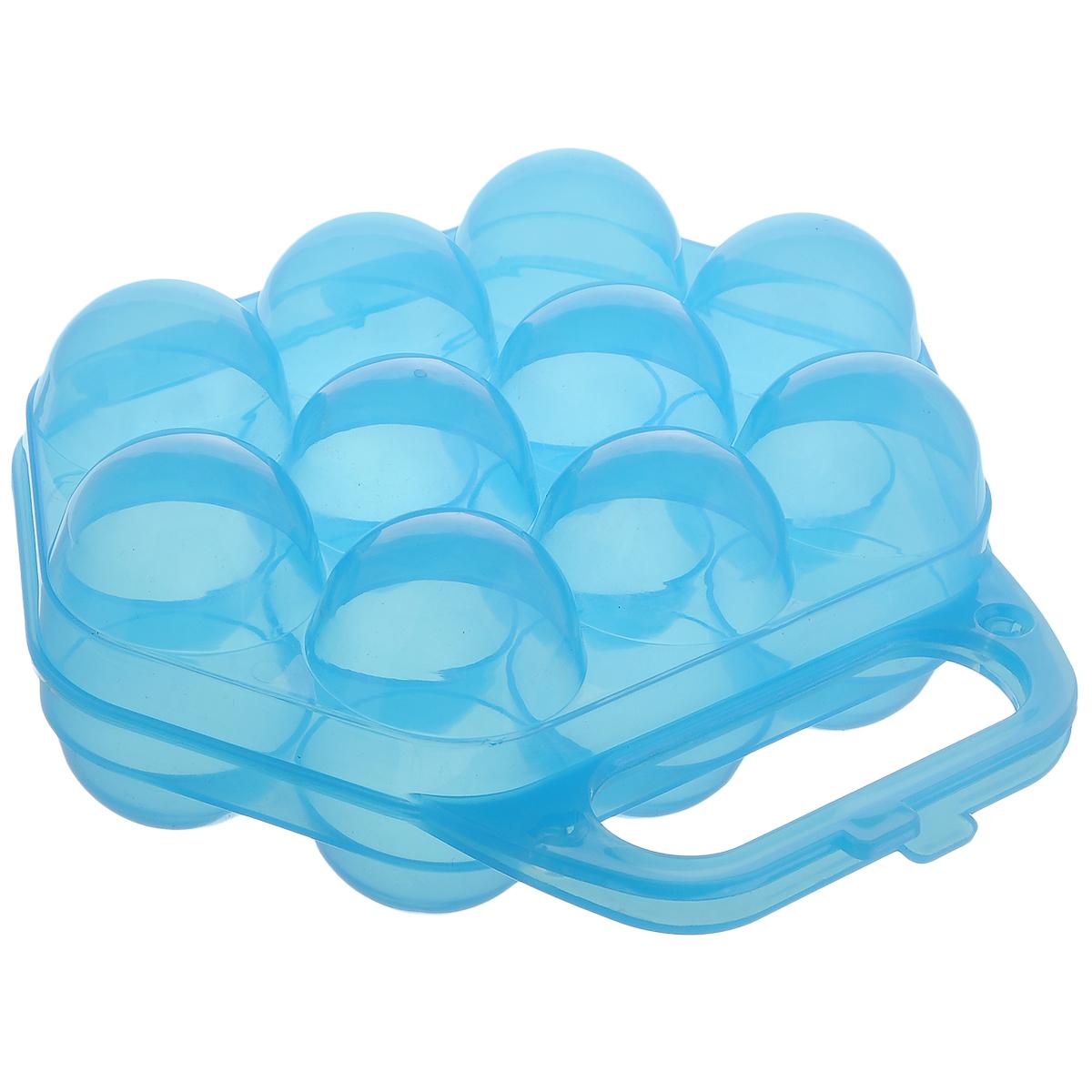 Контейнер для яиц Idea, на 10 шт, цвет: прозрачный синий, 20 х 19 х 7,5 смМ 1210Контейнер Idea, изготовленный из пищевого пластика, выполнен в виде чемоданчика и снабжен специальными ячейками для 10 яиц. Надежный защелкивающийся замок предотвратит случайное раскрытие контейнера. Изделие не занимает много места, что очень удобно при транспортировке и хранении. Размер контейнера: 20 х 19 х 7,5 см. Диаметр ячейки: 4,3 см.