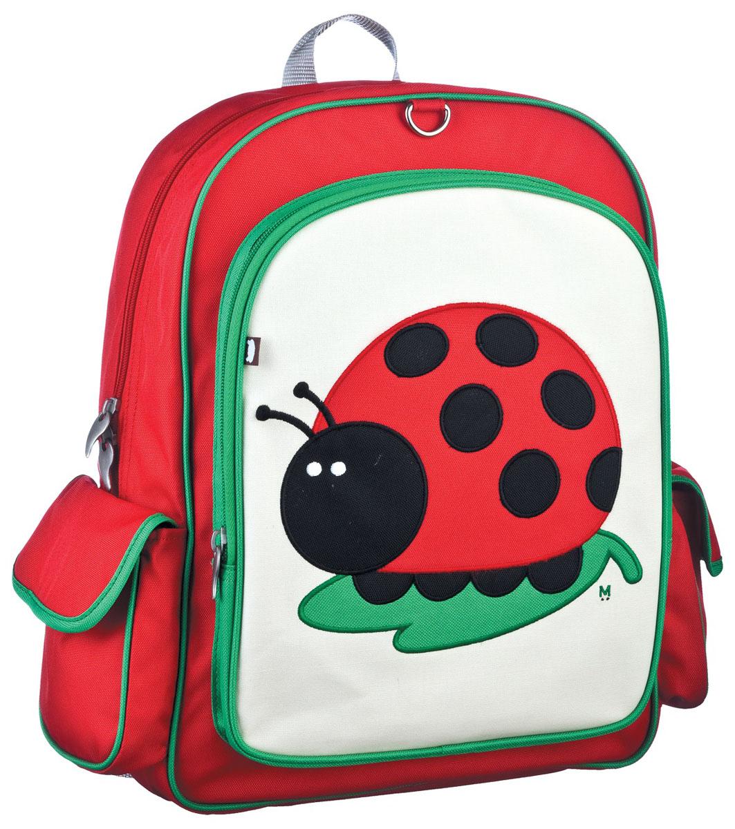 Рюкзак детский Beatrix Big Kid Juju-Lady Bug, цвет: молочный, красный, зеленыйAP-100357-7Рюкзак Beatrix Juju-Lady Bug изготовлен из износоустойчивого нейлона ярких расцветок.Рюкзак оформлен вышитой аппликацией с изображением забавного животного. Рюкзак состоит из вместительного отделения, закрывающегося на застежку-молнию с двумя бегунками. Бегунки застежки дополнены металлическими держателями. На лицевой стороне рюкзака один большой накладной карман на молнии. Внутри отделения находится дополнительный кармашек на застежке-молнии. На задней стенке рюкзака имеется нашивка, на которой можно указать данные владельца. По бокам рюкзака имеются два накладных кармашка, закрывающихся на клапан с липучкой. Мягкие широкие лямки позволяют легко и быстро отрегулировать рюкзак в соответствии с ростом. Спинка рюкзака и лямки прошиты для дополнительного комфорта при эксплуатации. Рюкзак оснащен удобной текстильной ручкой для переноски в руке. Достаточно вместительный для того, чтобы в них поместились учебники, ноутбук, школьный завтрак и остальной арсенал школьника. Идеально подходит как для школы, так для повседневных прогулок, отдыха и спорта.
