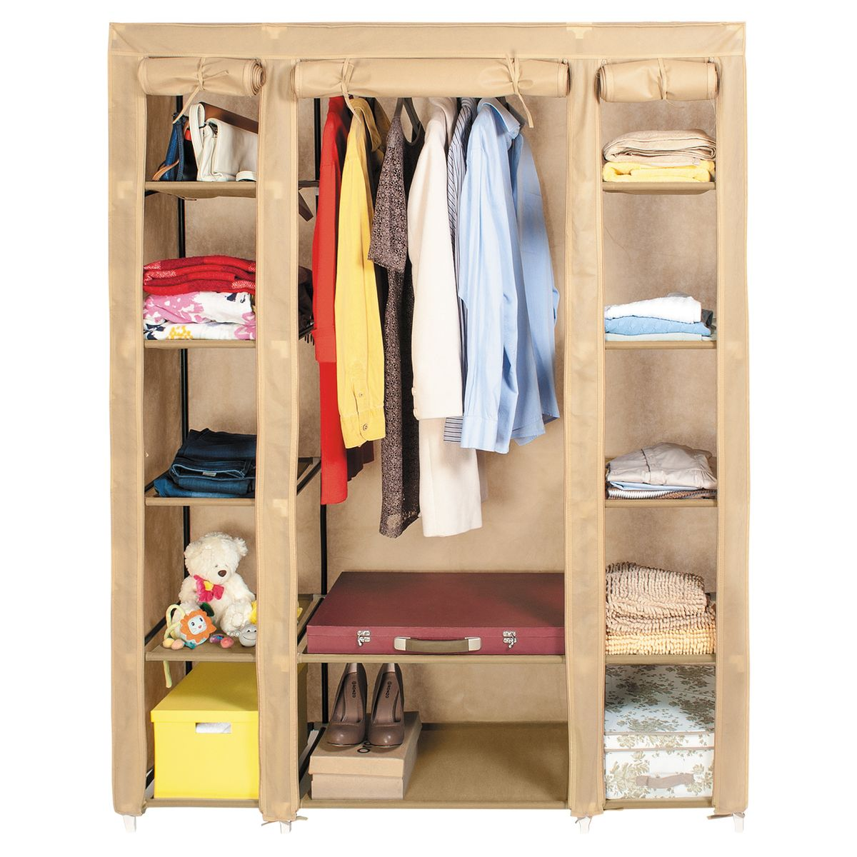 Шкаф для одежды Artmoon Montreal, цвет: бежевый, 135 х 45 х 175 см699263Шкаф для одежды Artmoon Montreal прекрасно подойдет для хранения одежды и аксессуаров. Каркас изделия выполнен из стали, чехол выполнен из нетканого материала с водоотталкивающей пропиткой. Внутри имеется отделение со штангой для хранения вещей на вешалках, а также 12 полок для белья и обуви. Шкаф складной, он легко собирается без инструментов. Выдерживает вес до 30 кг.