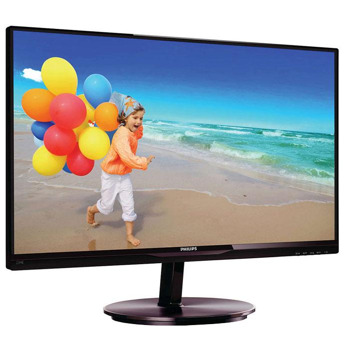 Philips 234E5QSB (00/01), Black монитор234E5QSBСтильный дисплей Philips 234E5QSB с ультратонкой рамкой и экраном AH-IPS позволяет насладиться потрясающим реалистичным изображением.Ультратонкая рамка в минималистичном стиле:Новые дисплеи Philips отличаются не только панелями, выполненными по новейшим технологиям, но и минималистичным дизайном, выраженным в ультратонкой рамке шириной всего 2,5 мм. Общий размер рамки вместе с черной полосой на панели шириной около 9 мм значительно уменьшен, что делает ее практически незаметной и максимально увеличивает область просмотра. Дисплеи с ультратонкой рамкой особенно подходят для работы с приложениями в многоэкранном режиме, такими как игры, профессиональные приложения для графического дизайна и другие, создавая впечатление, будто вы смотрите на один большой экран.Дисплей AH-IPS обеспечивает превосходное качество изображения и широкий угол обзора:Дисплей AH-IPS обеспечивает превосходное качество изображения и широкий угол обзора В IPS-дисплеях используется прогрессивная технология, обеспечивающая широкий угол обзора 178/178 градусов для просмотра дисплея практически под любым углом. По сравнению со стандартными TN-панелями IPS-дисплеи обеспечивают значительно более высокую четкость изображения и яркие цвета, что делает их идеальным решением не только для просмотра фотографий, фильмов и веб-сайтов, но также и для работы в профессиональных приложениях, где требуется точная передача цвета и яркости.SmartImage Lite для улучшения изображения на ЖКД:SmartImage Lite — это уникальные и самые современные технологии Philips, которые анализируют отображаемое на экране. В зависимости от выбранной пользователем схемы, SmartImage Lite динамически улучшает контраст, насыщенность и резкость изображений и видеозаписей, а также отображение текста в текстовых приложениях для создания изображения исключительного качества — и все это в режиме реального времени и одним нажатием кнопки.Дисплей 16:9 Full HD для комфортного просмотра:ЖК-дисплей Full H