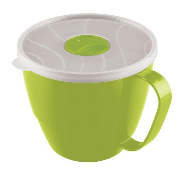 Контейнер-кружка для бульона Phibo, цвет: прозрачный, зеленый, 0,72 лС12941Контейнер-кружка Phibo изготовлен из пластика и не содержит Бисфенол А. Предназначен для супов, бульонов и напитков. Крышка прозрачная, легко и плотно закрывается, снабжена клапаном. Контейнер-кружка подходит для использования в микроволновых печах.Объем: 0,72 л.