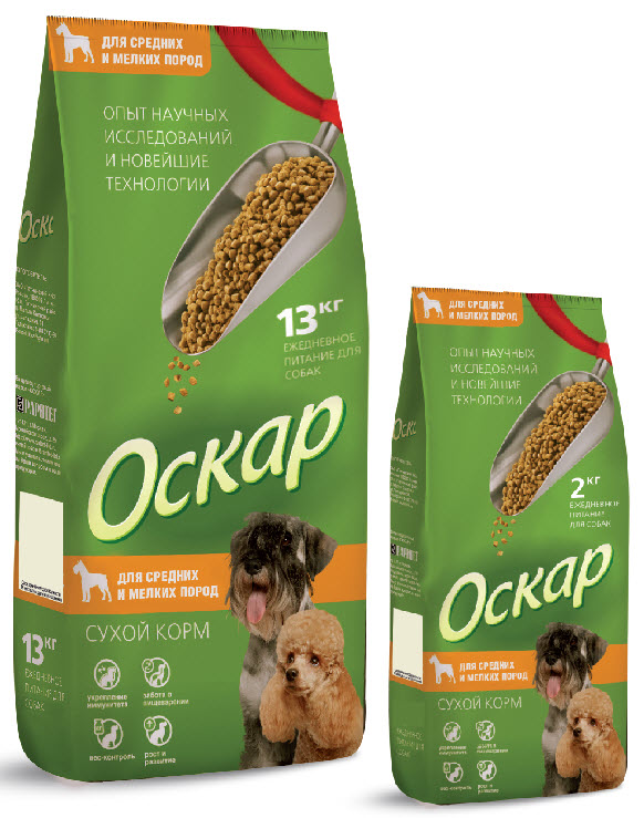 Корм сухой Оскар для собак средних и малых пород, 13 кг2121Сухой корм Оскар является вкусным и полезным питанием для собак средних и мелких пород. Он производится по научно обоснованной рецептуре, обеспечивающей оптимальный баланс питательных веществ, витаминов и микроэлементов, необходимых вашему питомцу. Особенности сухого корма Оскар:- укрепляет и поддерживает иммунную систему; - обеспечивает правильное пищеварение; - способствует росту здоровой, густой и блестящей шерсти; - укрепляет костную систему и суставы; - помогает поддерживать оптимальный вес собаки; - уменьшает образование зубного камня. Корм Оскар изготавливается из натуральных продуктов высшего качества, не содержит красителей и вкусовых добавок, сочетает в себе все необходимые для здоровья и нормального развития вашего любимца витамины и минеральные вещества.Характеристики:Состав:злаки, пшеничные отруби, мясо и продукты животного происхождения, экстракт белка растительного происхождения, минеральные добавки, подсолнечное масло, пульпа сахарной свеклы (жом), витамины, антиоксидант. Пищевая ценность:сырой протеин 21%, сырой жир 8%, сырая клетчатка 5%, сырая зола 7%, влажность 10%, витамин А 5000 МЕ/кг, витамин Д 500 МЕ/кг, витамин Е 50 мг/кг, фосфор 1,1%, кальций 1,5%.Энергетическая ценность на 100 грамм: 315 ккал.Вес:13 кг. УВАЖАЕМЫЕ КЛИЕНТЫ!Обращаем ваше внимание на возможные изменения в дизайне упаковки.