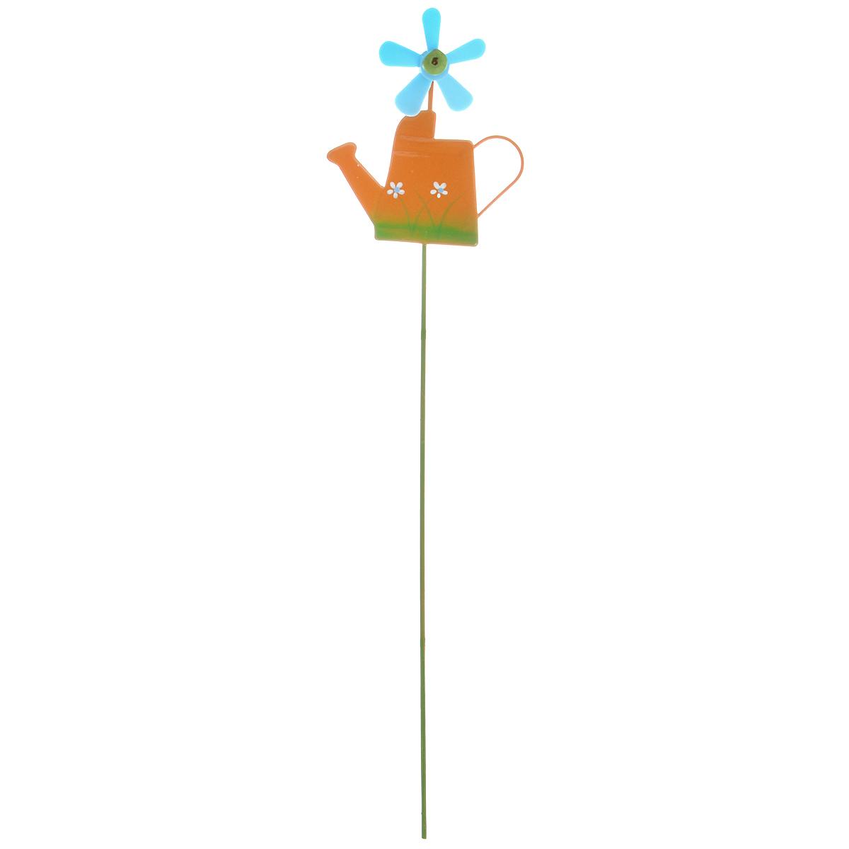Украшение на ножке Village People Лейка с флюгером, цвет: оранжевый, высота 27 см украшение на ножке village people соломенные веселые цветы цвет зеленый 66945 1
